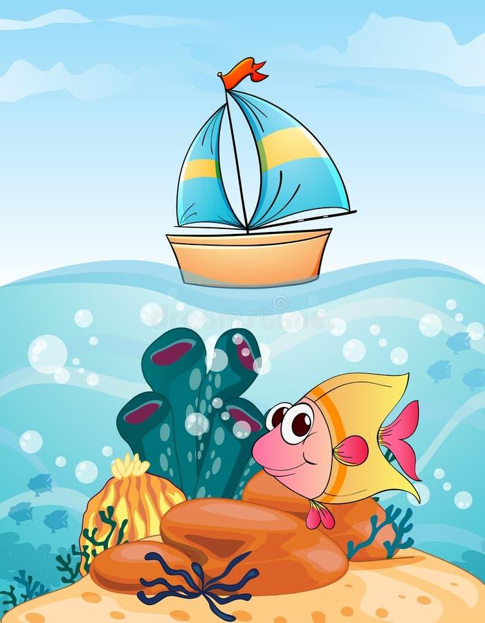 Bateau et poissons illustration de vecteur