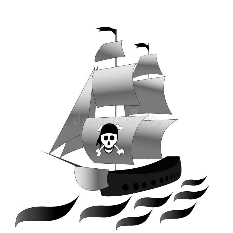 Bateau Frégate avec les voiles blanches et Dessin noir et blanc de vecteur sur le fond d'isolement blanc croquis illustration stock