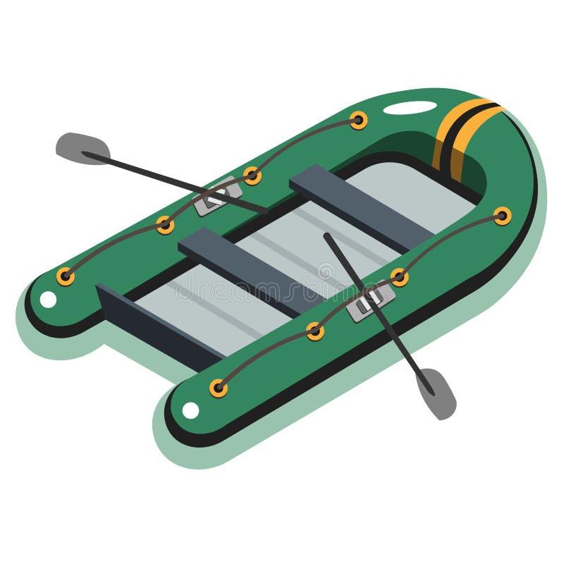 Bateau gonflable isométrique illustration de vecteur