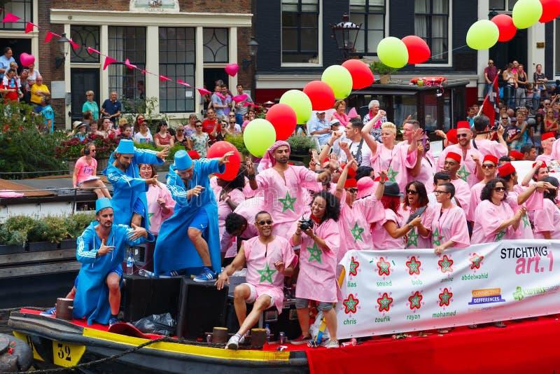Bateau marocain au défilé 2014 de canal d'Amsterdam photographie stock libre de droits