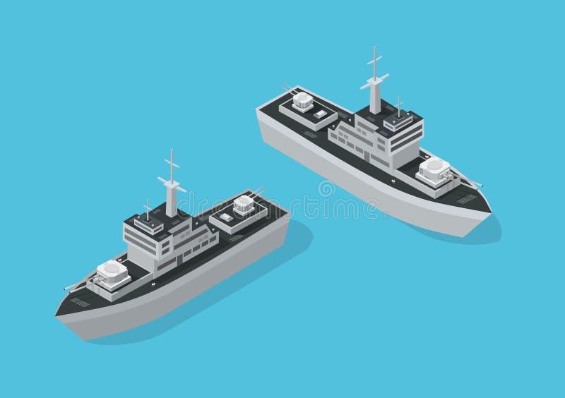 Bateau militaire de navire de guerre illustration libre de droits