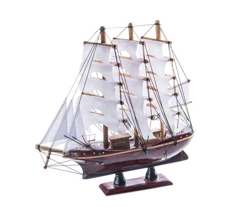 Bateau modèle d'isolement de voilier photo stock