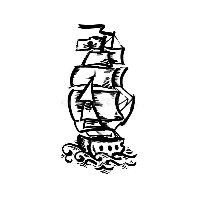 Bateau noir tiré par la main de tatouage de vieille école de couleur de vecteur sur le fond blanc illustration stock