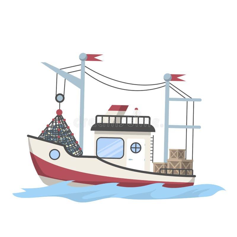 Bateau ou bateau de pêche complètement des poissons illustration libre de droits