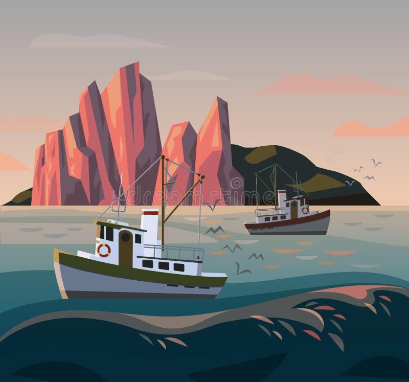 Bateau ou bateau de pêcheur au coucher du soleil pêche illustration stock