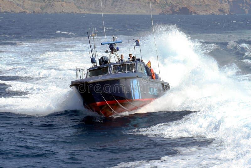 Bateau rapide du service douanier espagnol image libre de droits