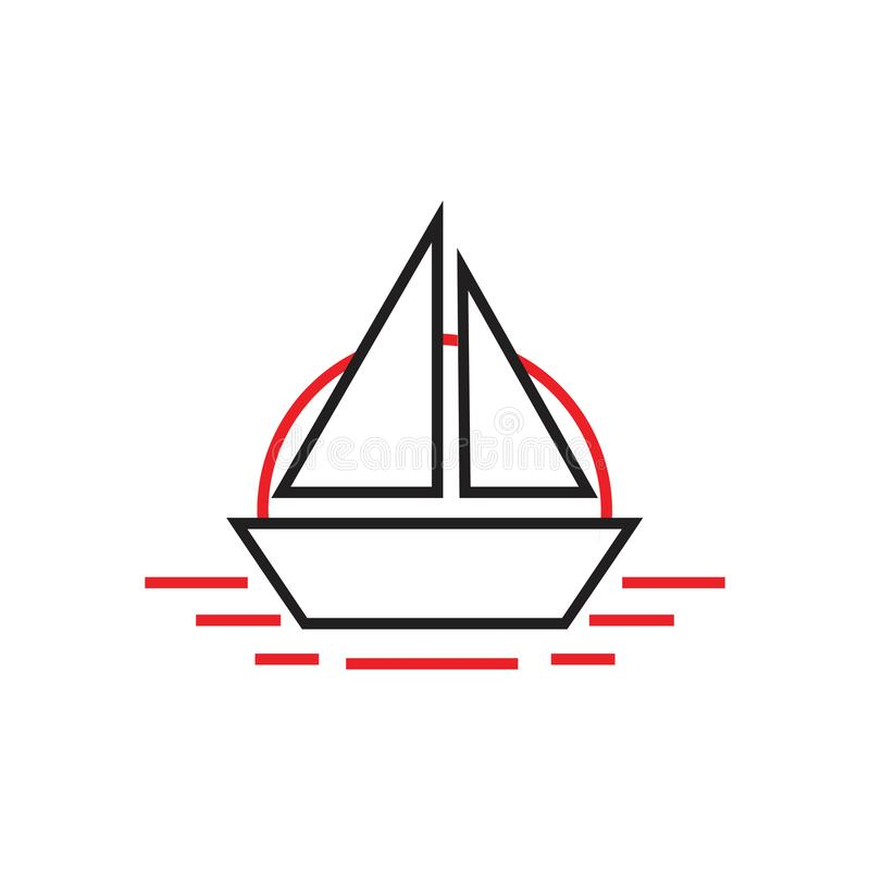 Bateau simple dans vecteur mer de logo de schéma illustration stock