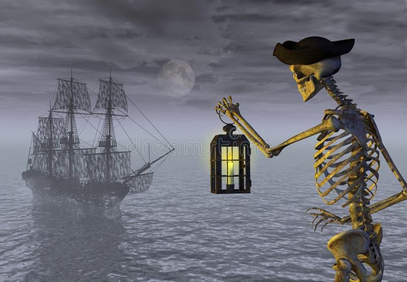 Bateau squelettique de pirate et d'ordinateur de secours illustration stock