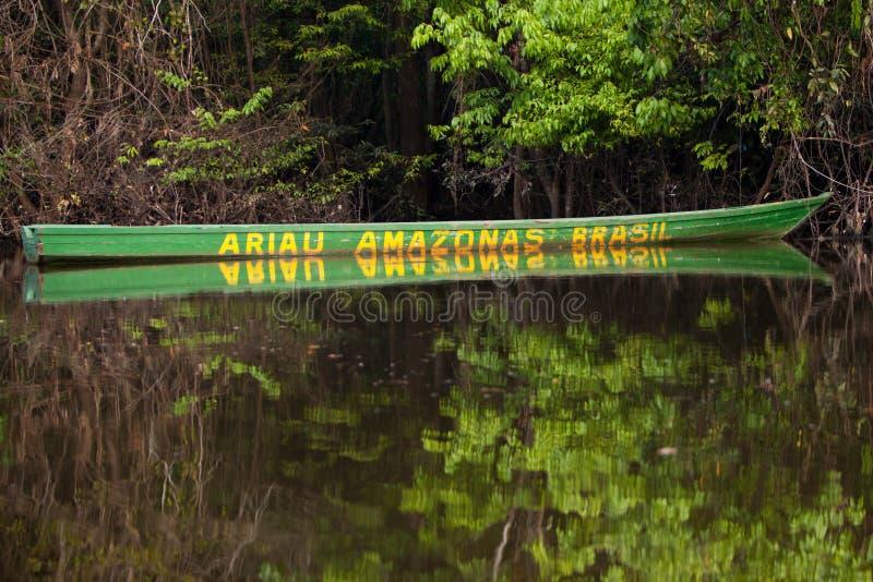Bateau sur le fleuve d'Amazone images libres de droits