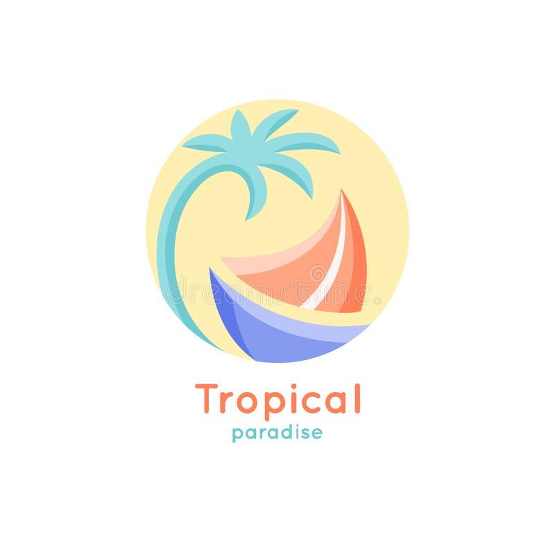 Bateau tropical de logo illustration de vecteur