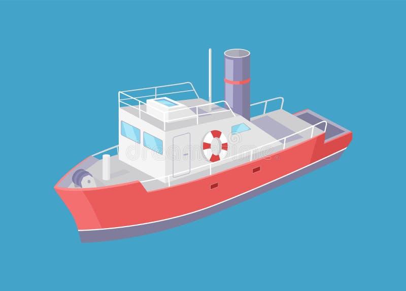 Bateau ? vapeur Marine Transport Vessel Sailing en mer illustration de vecteur