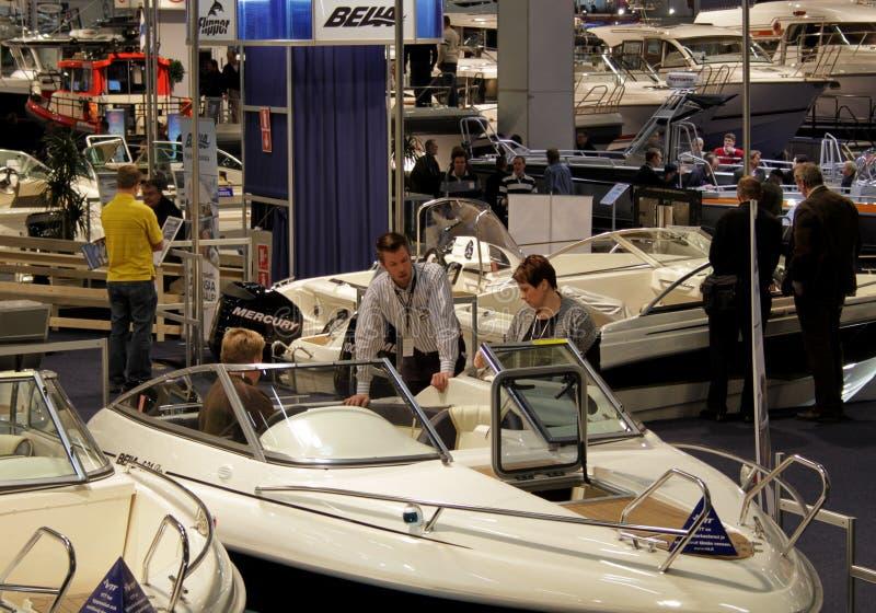 Bateaux à l'exposition de bateau photos libres de droits
