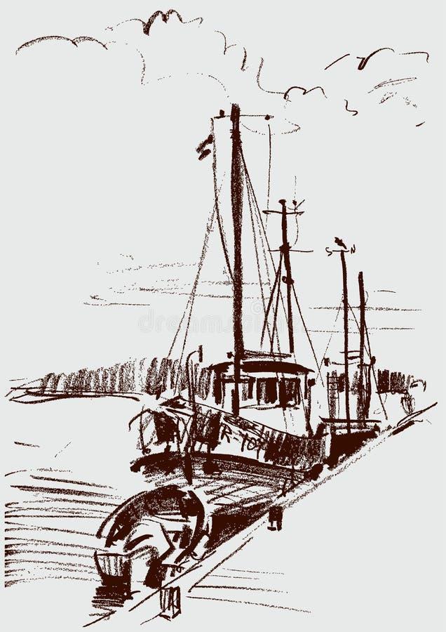 Bateaux à la couchette illustration de vecteur