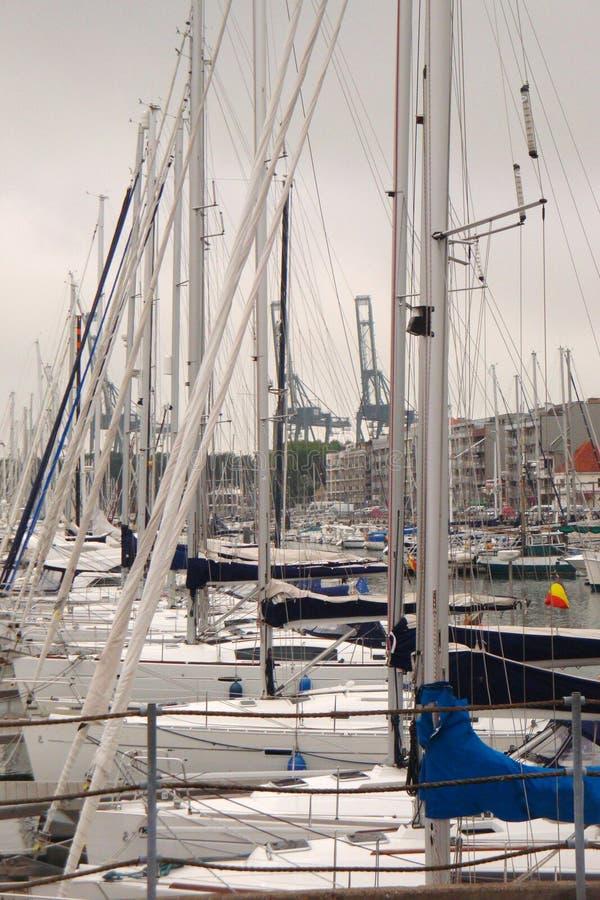 Bateaux à voile dans la marine Navires de navigation dans un port photos stock