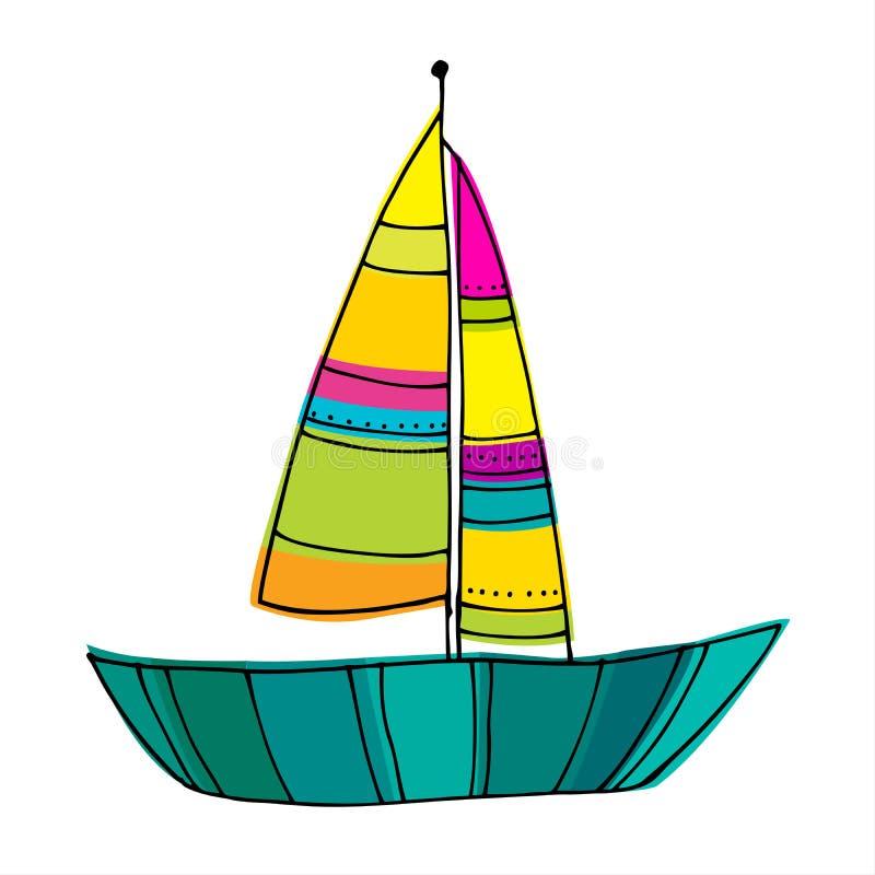 Bateaux à voile mignons illustrés illustration de vecteur