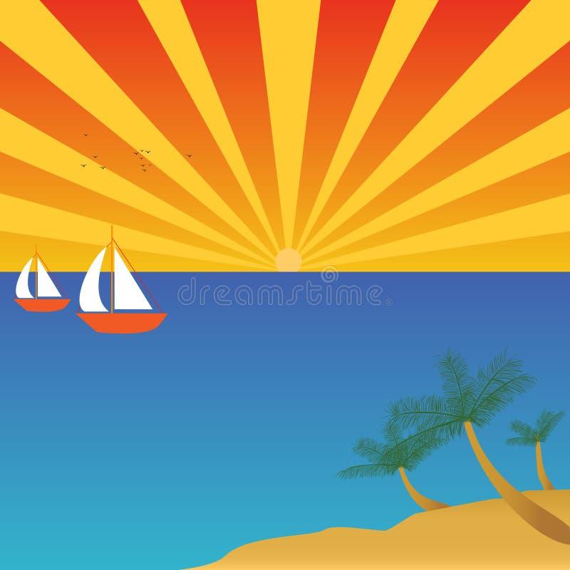 Bateaux à voiles sur l'océan ouvert illustration stock