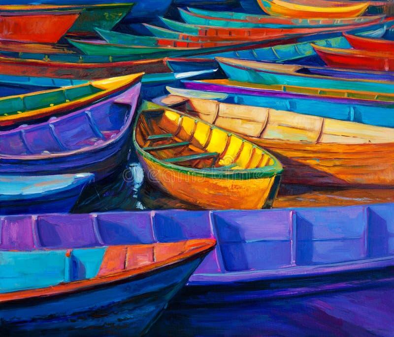 Bateaux au coucher du soleil illustration de vecteur