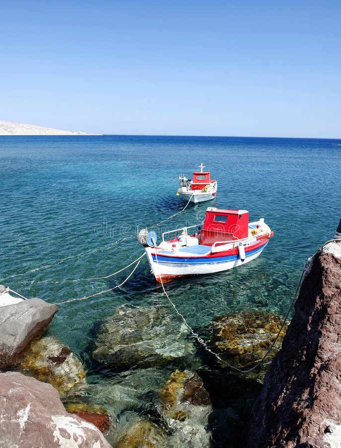 Bateaux d'Akrotiri photos stock