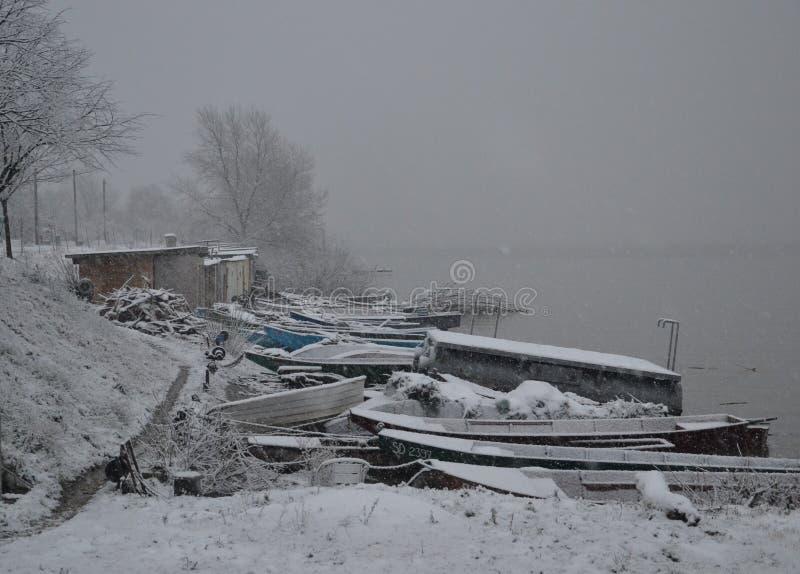 Bateaux d'hiver photo libre de droits