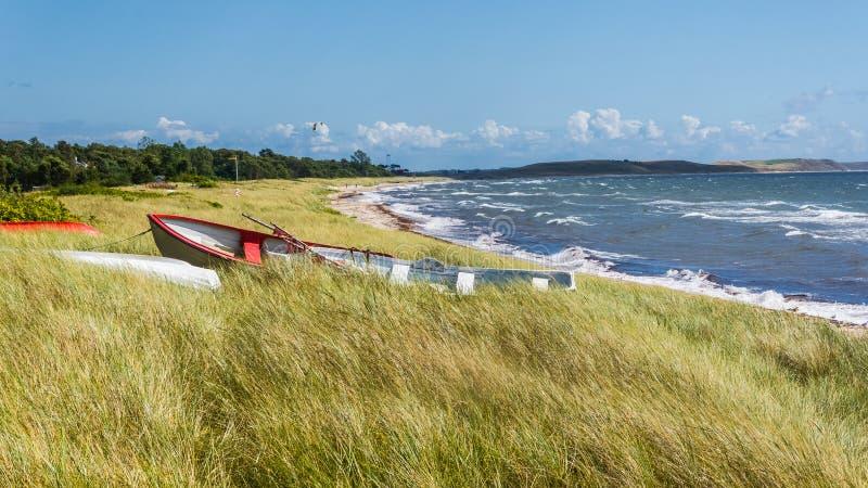 Bateaux dans l'herbe près de Ystad photos stock