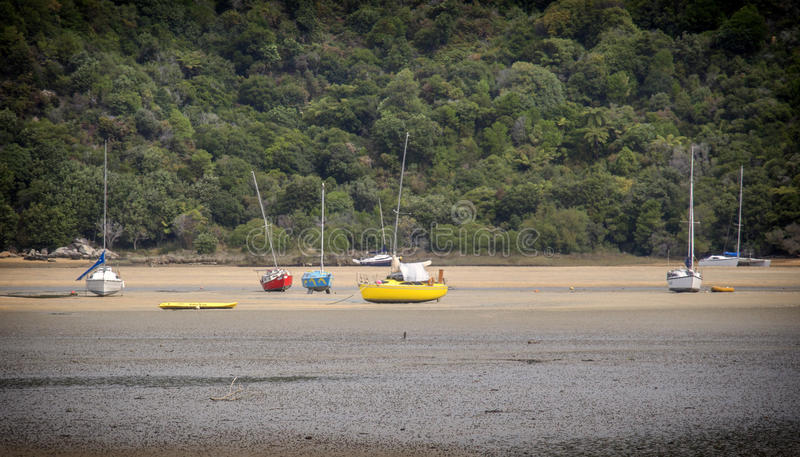 Bateaux dans la marée basse au Nouvelle-Zélande image libre de droits