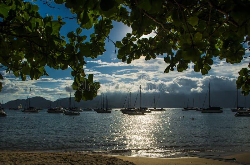 Bateaux dans la plage photo libre de droits