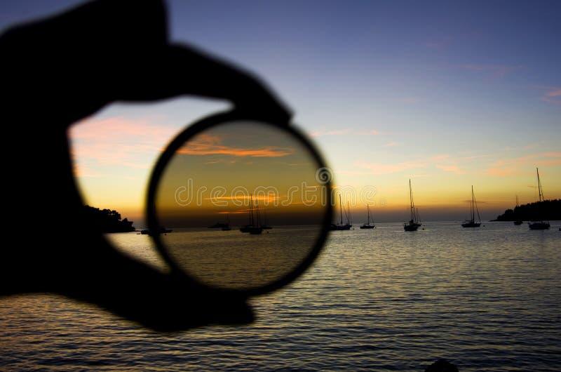 Bateaux de coucher du soleil photos libres de droits