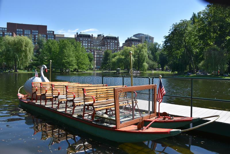 Bateaux de cygne au jardin public à Boston, le Massachusetts photo stock
