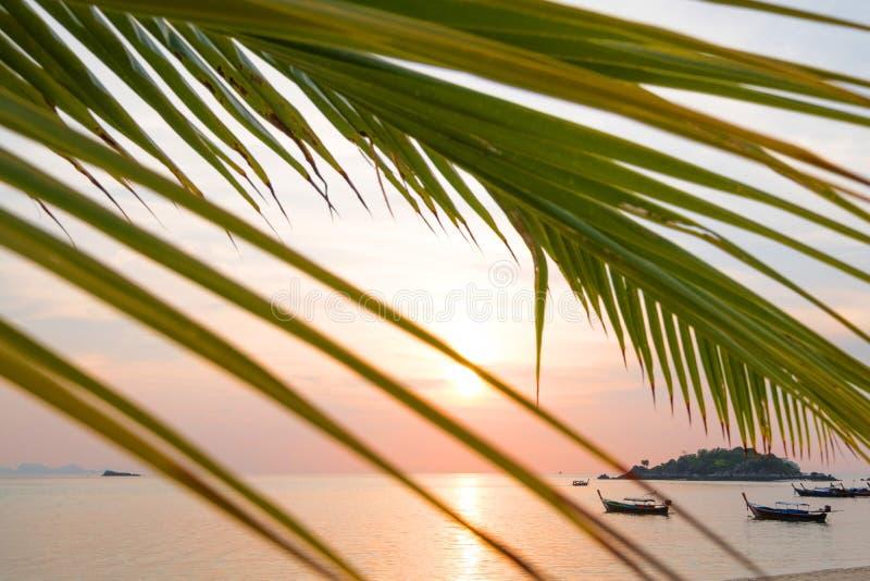 Bateaux de Longtail sur le bord de la mer au lever de soleil dans le tra de concept d'heure d'été photo stock