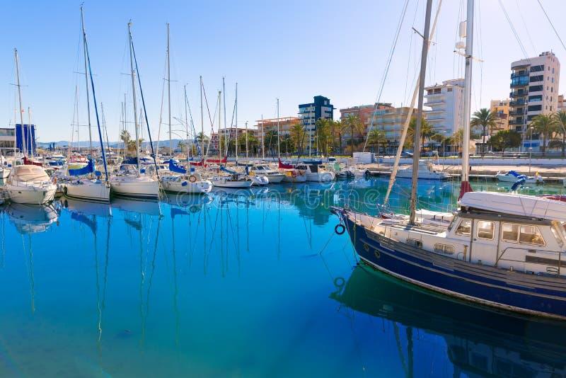Bateaux de marina de Gandie Nautico en Espagne méditerranéenne photos libres de droits