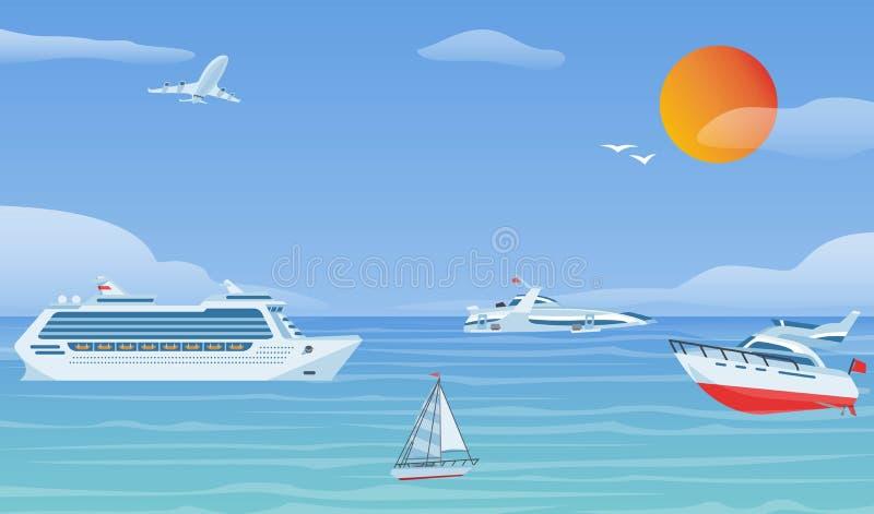 Bateaux de mer et peu de bateaux de p?che Illustration plate de fond de vecteur de voiliers Yacht et bateau de transport de l'eau illustration stock