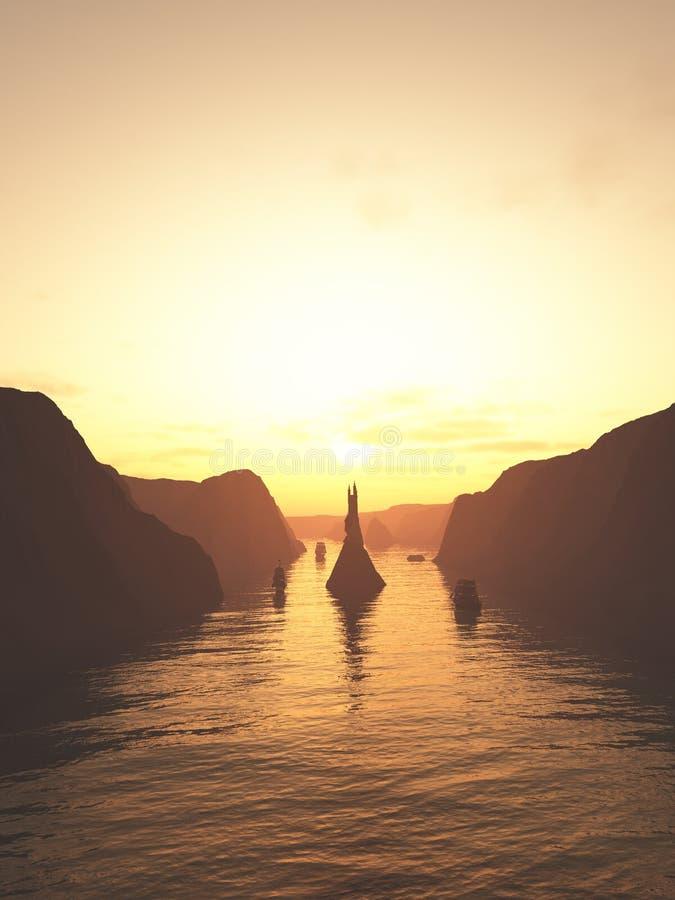 Bateaux de navigation sur la rivière au coucher du soleil illustration libre de droits