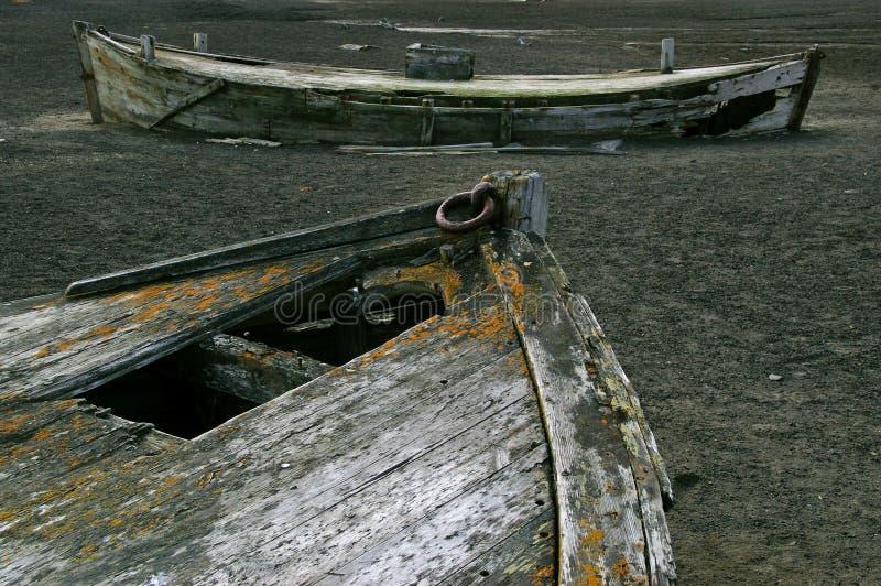 Bateaux de pêche à la baleine, île de déception, Antarctique photographie stock libre de droits