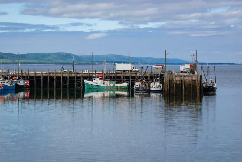 Bateaux de pêche dans le port à marée basse dans Digby, Nova Scotia image libre de droits