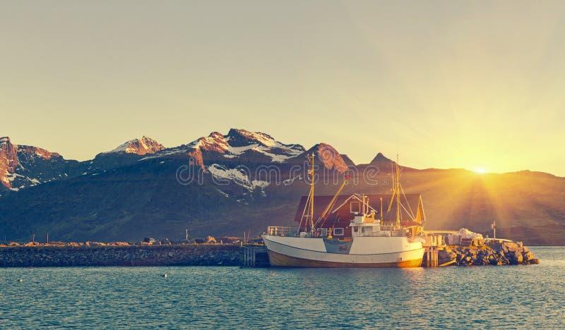 Bateaux de pêche dans le port au soleil de minuit en Norvège du nord, Lofo photographie stock