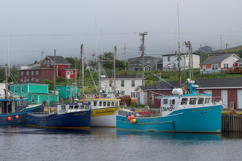 Bateaux de pêche dans le port de branche image libre de droits