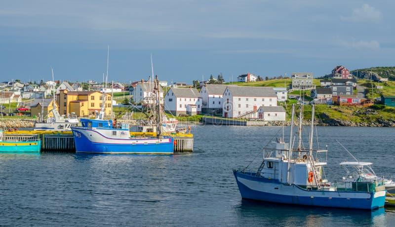 Bateaux de pêche dans le port en Bona Vista, Terre-Neuve, Canada photo stock