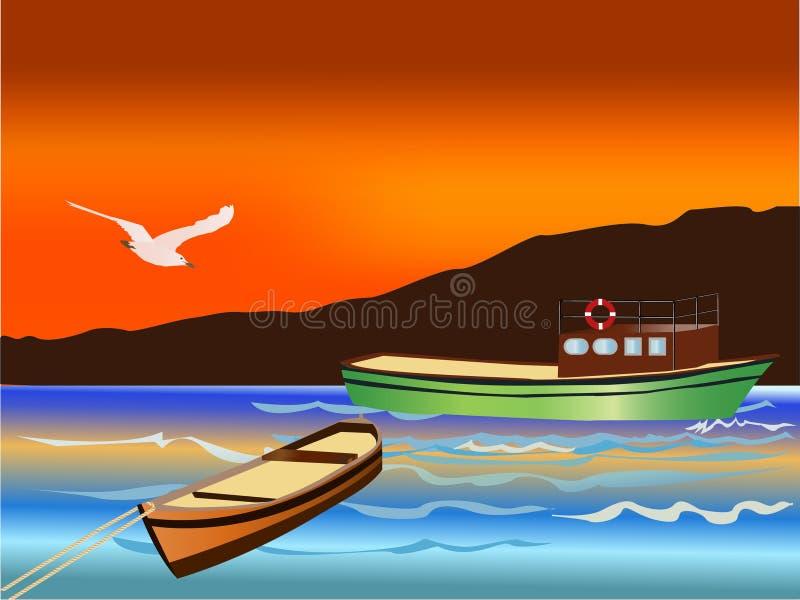 Bateaux de pêche de vecteur illustration de vecteur