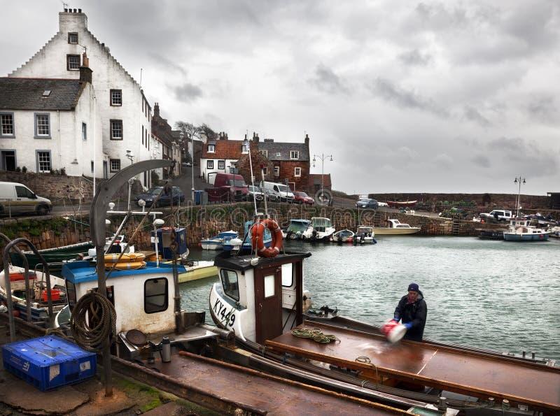 Bateaux de pêche en Ecosse images libres de droits