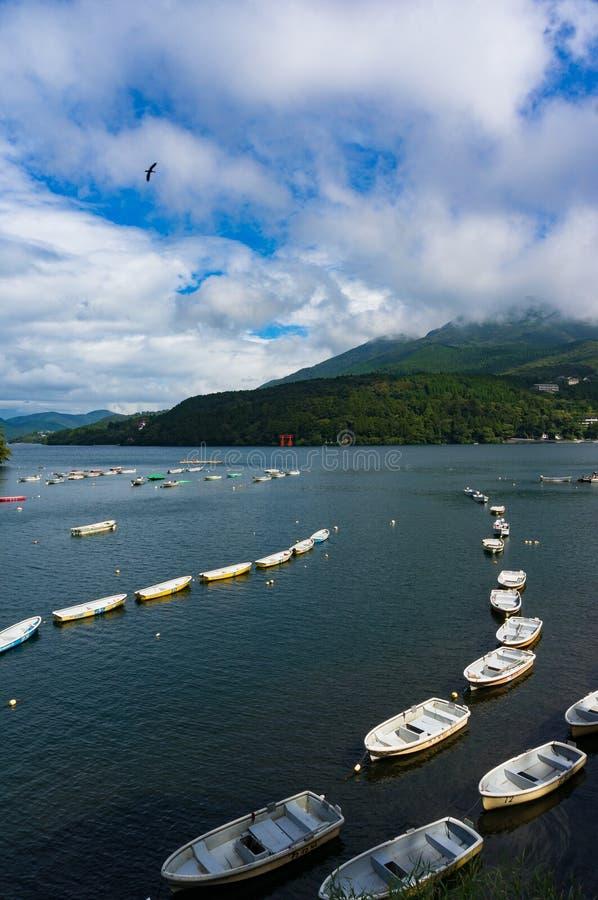Bateaux de pêche et bateau de croisière sur le lac Hakone photo libre de droits