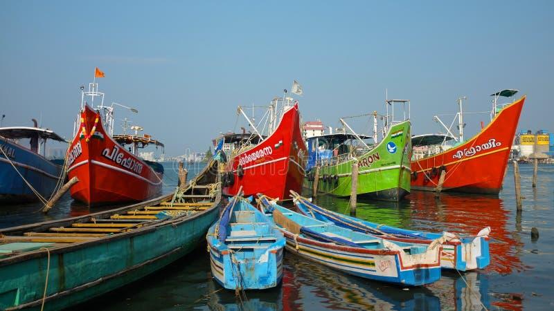 Bateaux de pêche, Kerala, Inde photo stock