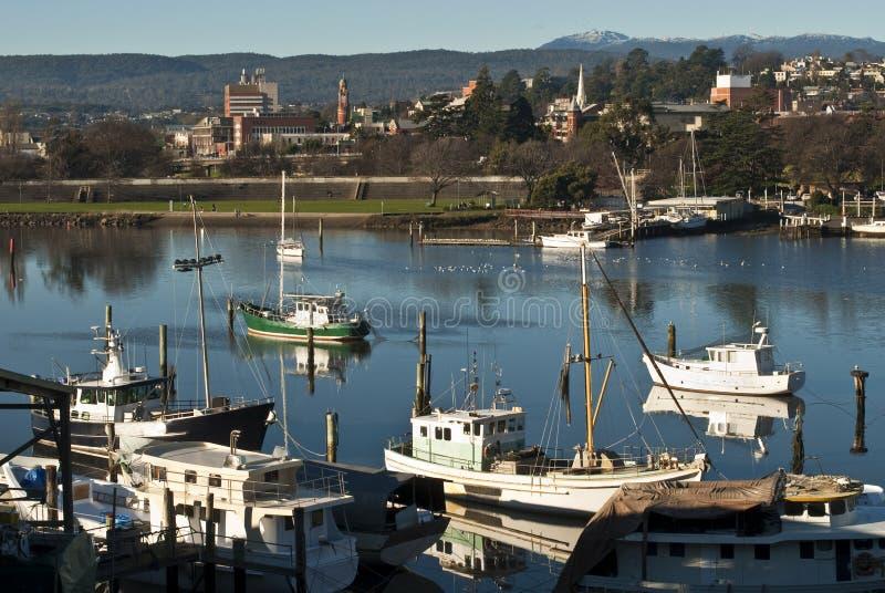 Bateaux de pêche sur le fleuve de Tamar, Launceston, Tasmanie images libres de droits