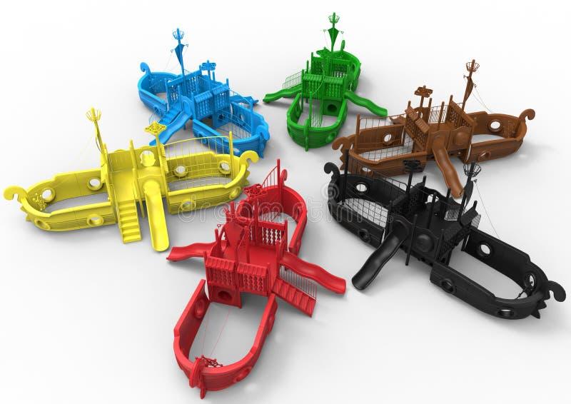 Bateaux de terrain de jeu avec des glissières illustration stock
