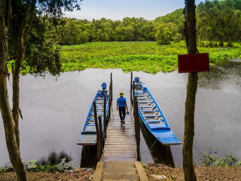 Bateaux de touristes amarrés sur le pilier de lagune pour explorer la forêt d'indigo de Tra Su, delta d'An Giang, le Mékong, Viet images libres de droits