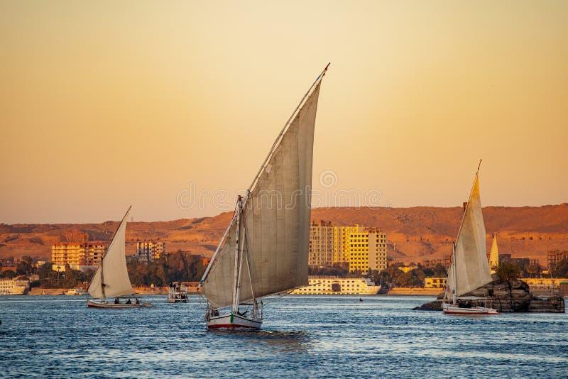 Bateaux de touristes de Felluca sur la rivière le Nil au coucher du soleil à Louxor photographie stock libre de droits