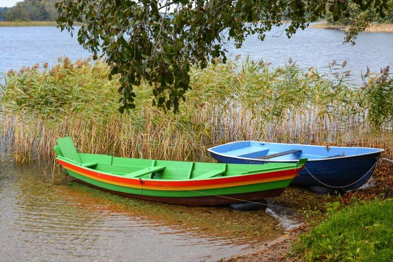 Bateaux en bois attachés près du rivage du lac dans les roseaux photographie stock libre de droits