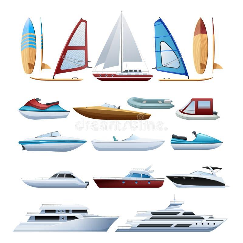 Bateaux et icônes plates de planche à voile réglées illustration de vecteur
