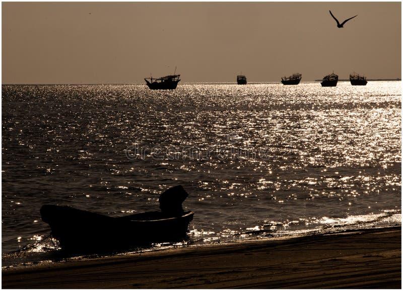 Bateaux et oiseaux au-dessus de la mer photographie stock