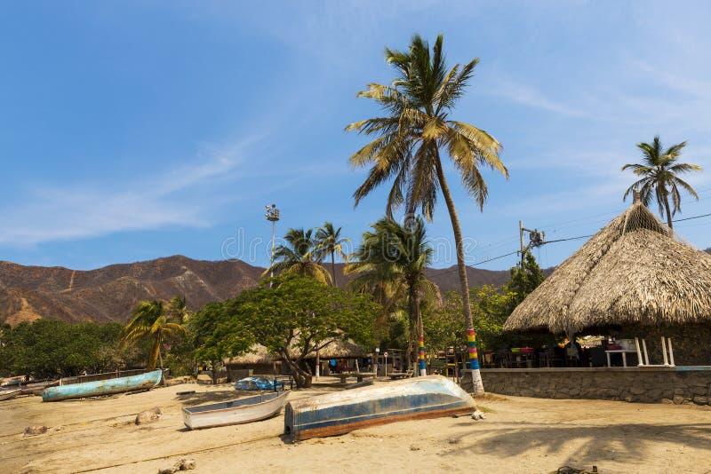 Bateaux et palmiers en plage par le village de Taganga dans la côte des Caraïbes de la Colombie photos stock