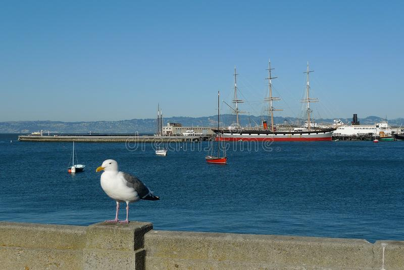 Bateaux historiques accouplés chez Hyde Street Pier, San Francisco Maritim photographie stock